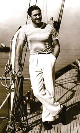 Errol Flynn on a boat